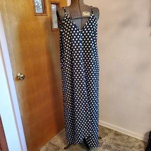 Long Black and White Polka Dot Dress XL